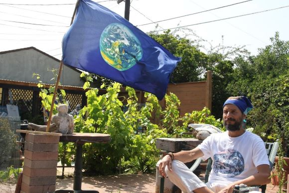 Pancho with Earth Flag