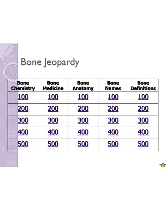 Bone Jeopardy! Game