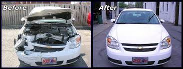 Car Before and After repair in Auto Body Shop