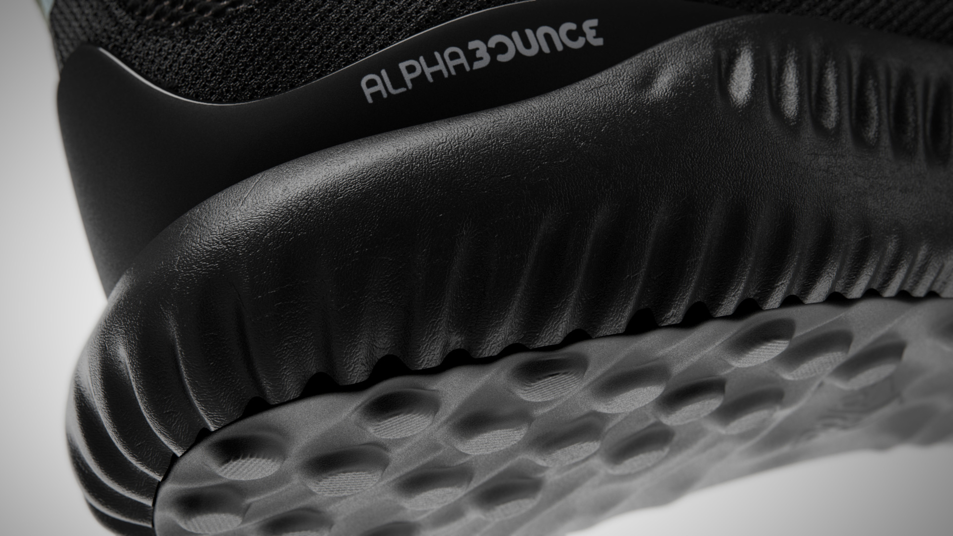 detail image of black adidas alphabounce shoe