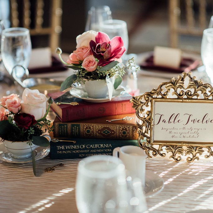 One of the couples wedding centerpiece options. Alice in Wonderland themed.