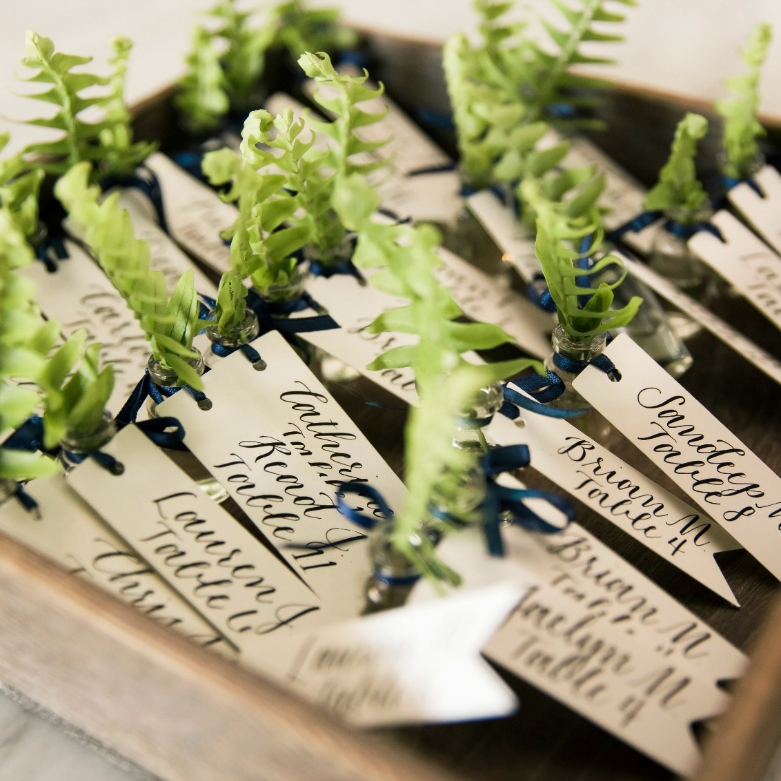 The unique place cards for the couples wedding.