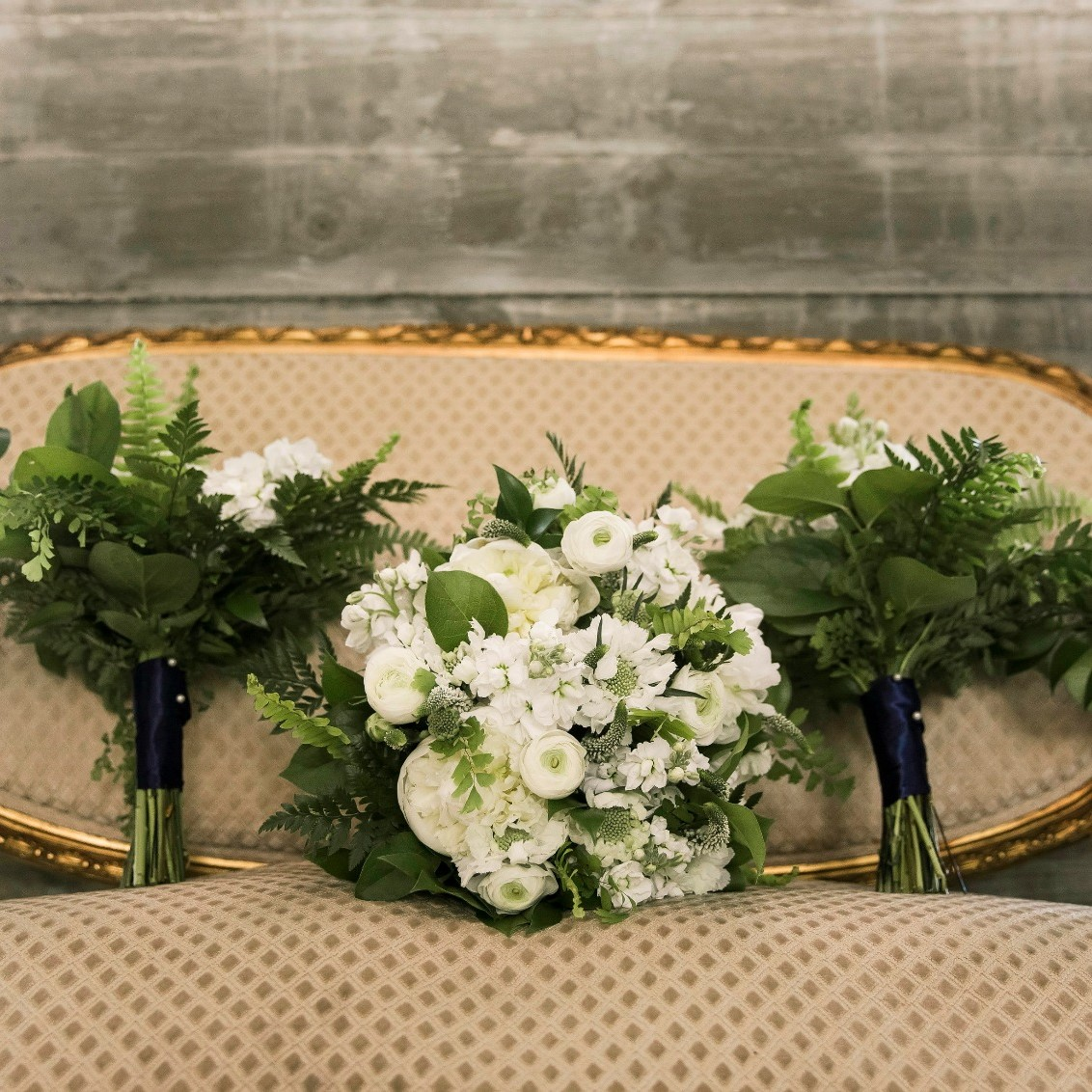 The beautiful bouquets for the bride and her bridesmaids.
