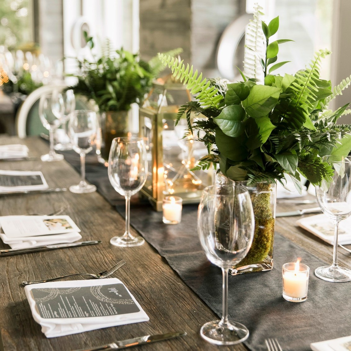 One of the fern centerpiece options for the wedding reception.