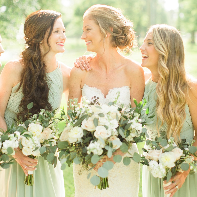 The bride with her two sisters.