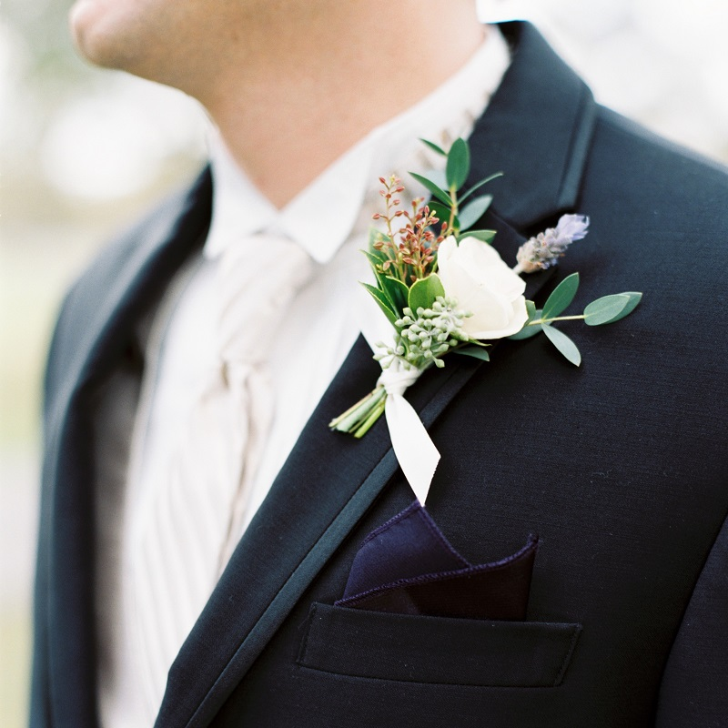 Detail shot of the groom suit.