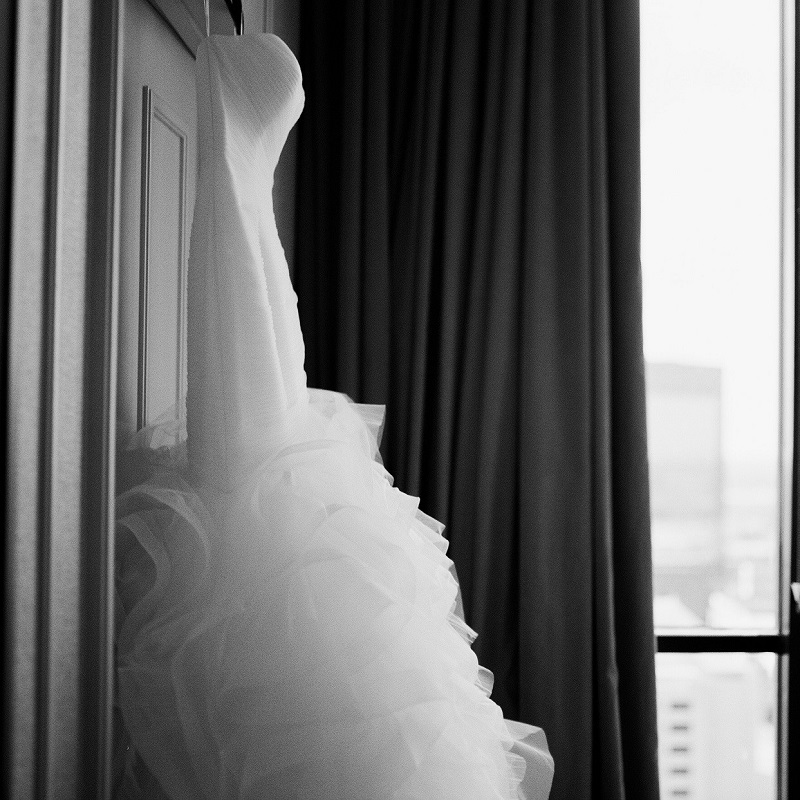 The wedding dress.