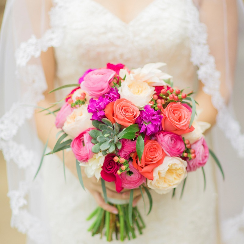 The wedding bouquet.