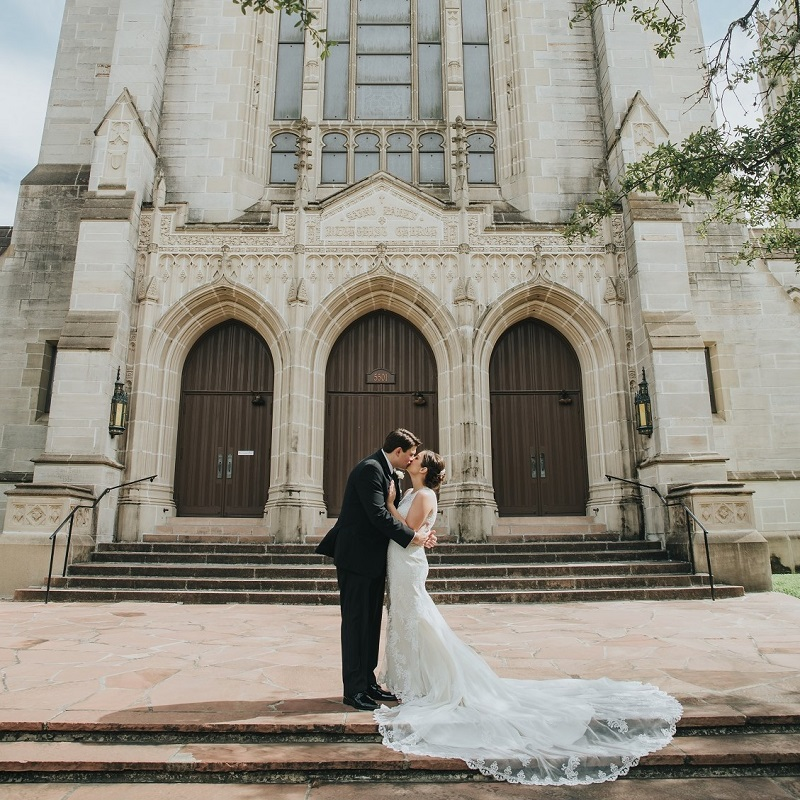 The couple in front of their church prior to the wedding ceremony.
