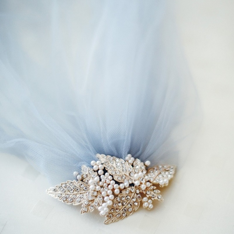 The brides blue wedding veil.