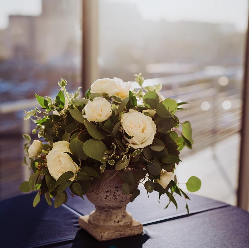 The floral centerpiece.