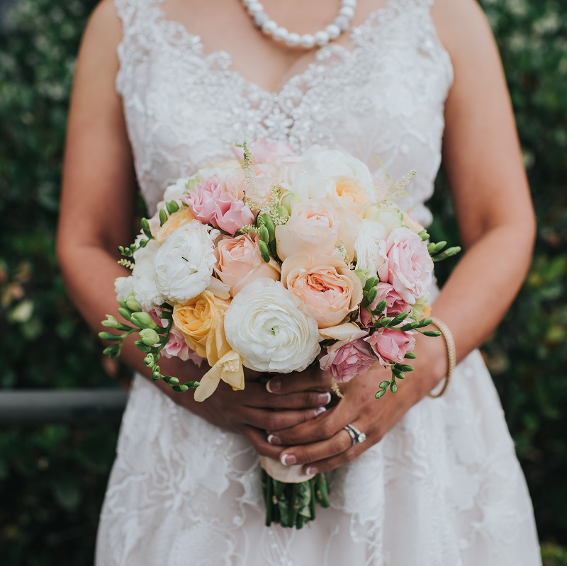 The bride with her wedding bouquet.