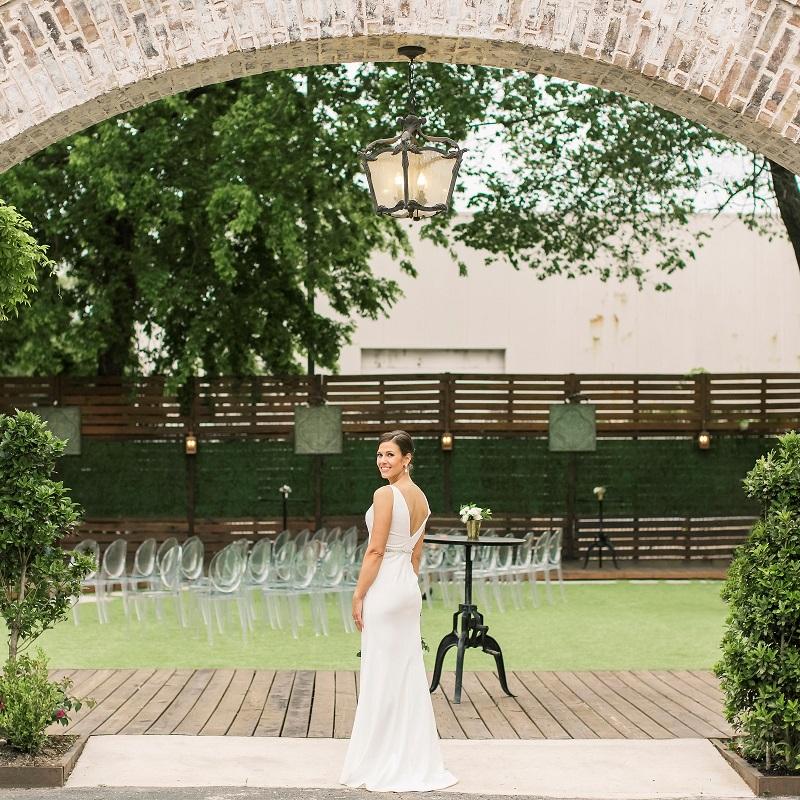 The bride at the wedding venue.