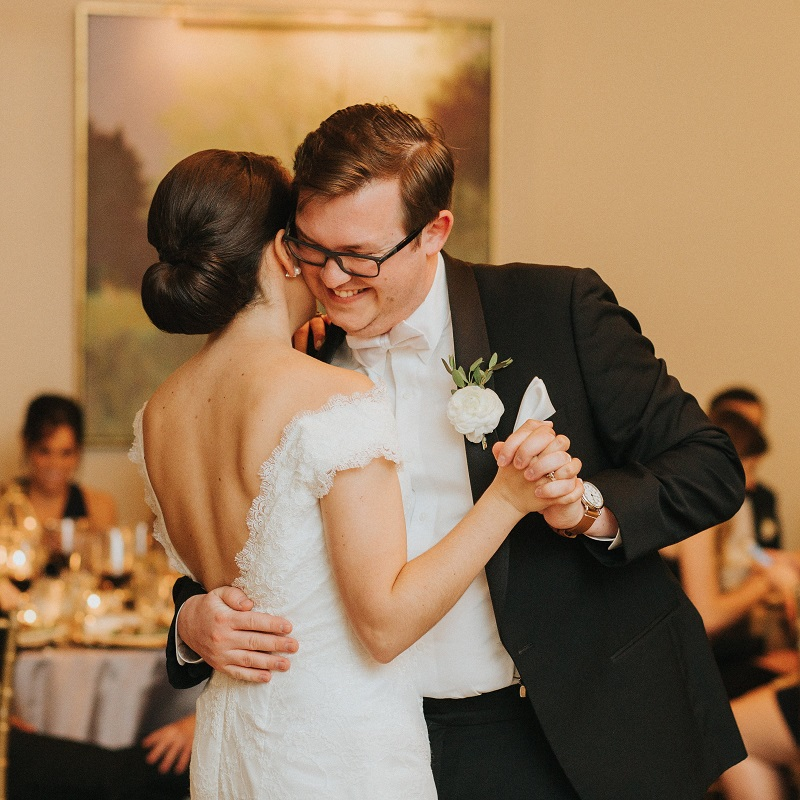 The bride and groom sharing their first dance.