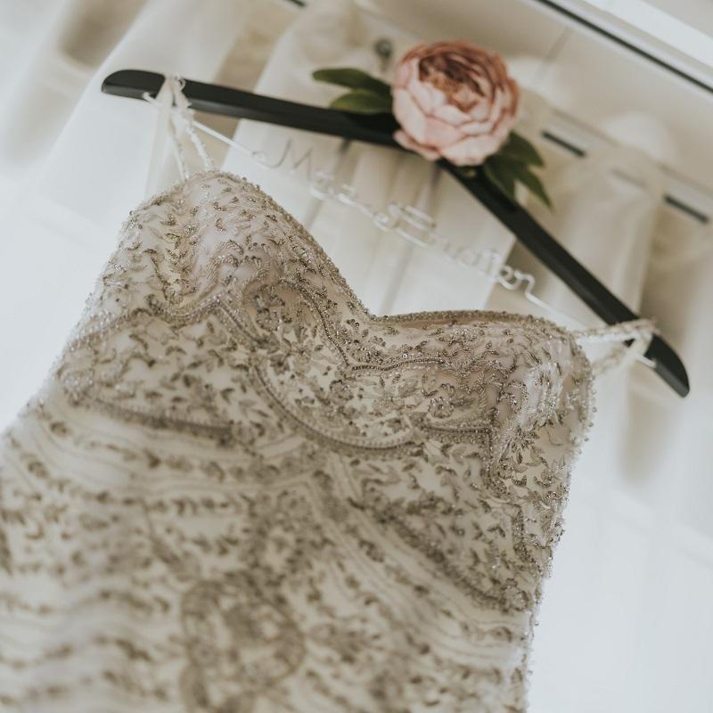 Detail shot of the wedding dress