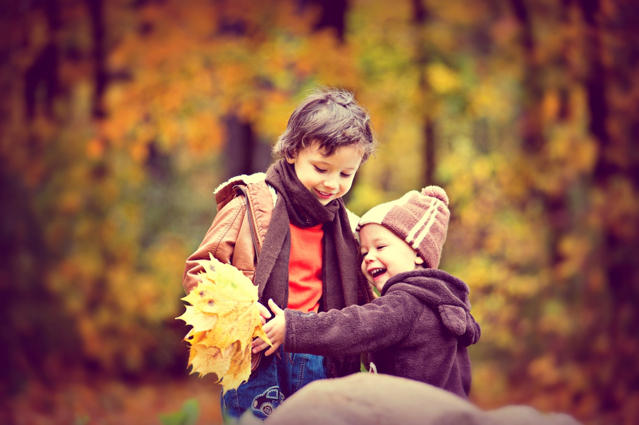 Two little boys play in the fall leaves, looking delighted.