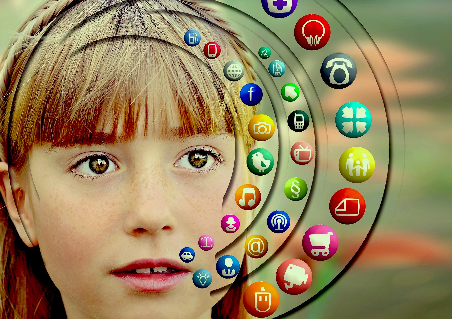 kid surrounded by social media icons