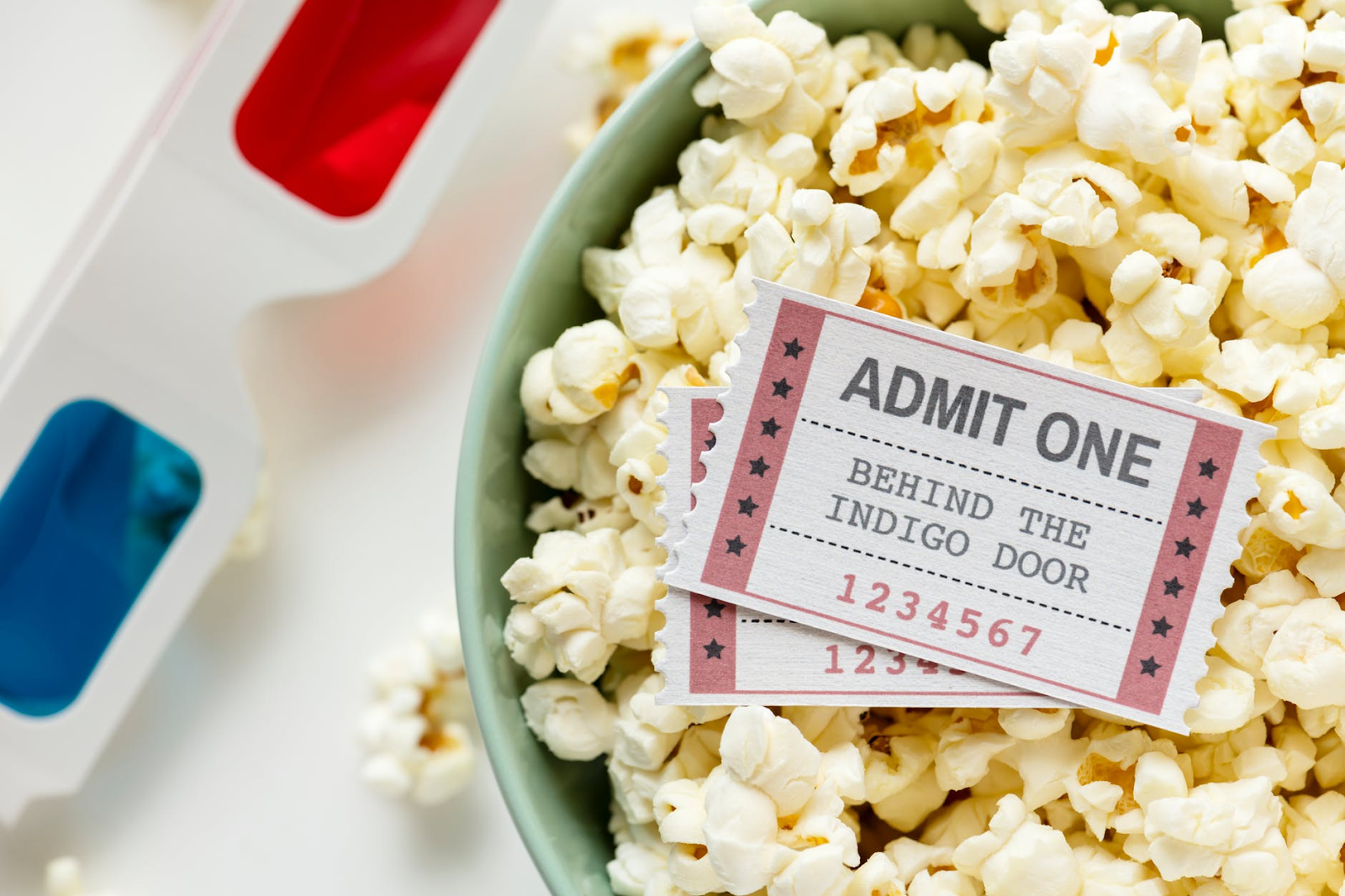 popcorn, 3-D glasses, and movie tickets