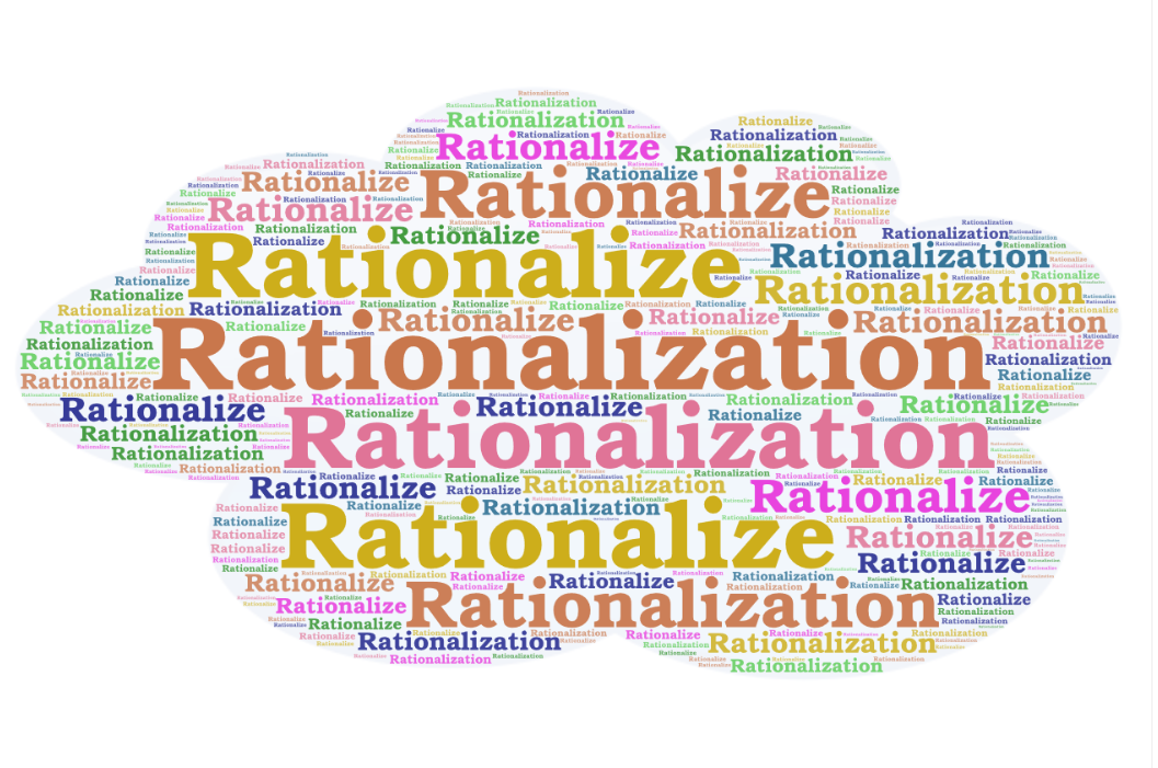 "The word ""rationalize"" is written in big lettering over and over again"