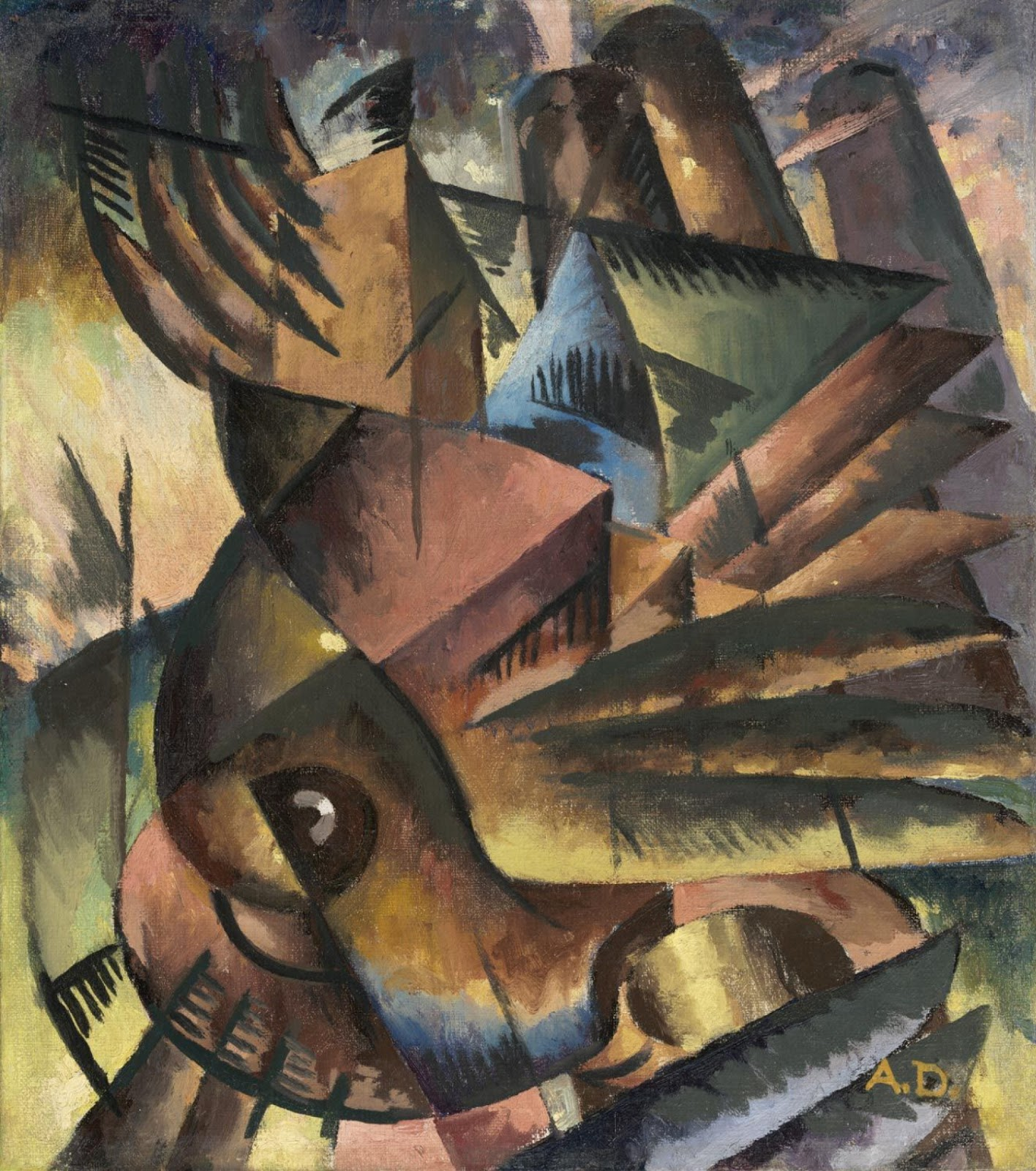 A cubist depiction of birds in flight with purples, yellows, greens, and maroons.