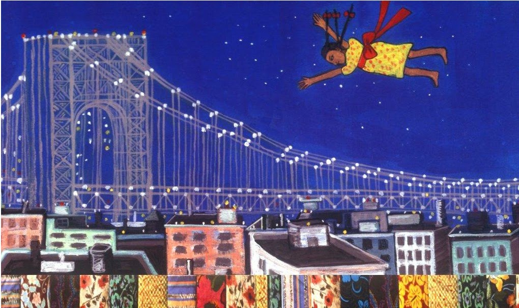 Tar Beach is an amazing childhood book because of its artwork and content. This image of the protagonist flying high above everything to give her a great view is exactly the approach that you should endow in your children.
