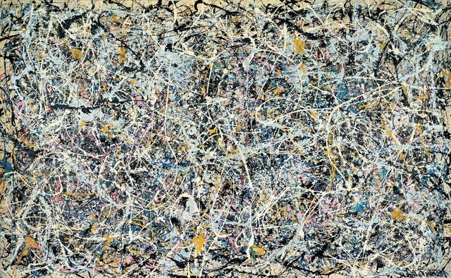 Pollock's painting shows the many splatters that he is famous for. Learn how to orchestrate and control your anxiety to produce a beautiful masterpiece.i
