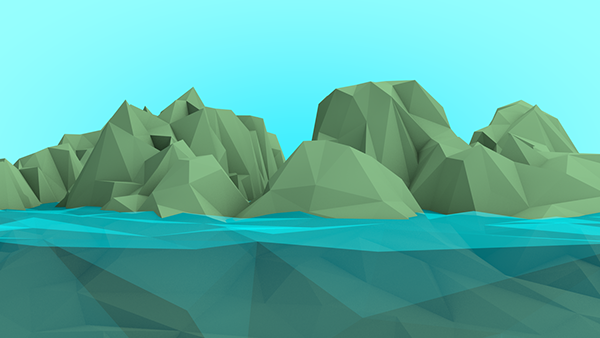 Low poly ocean and island created in Cinema 4D.