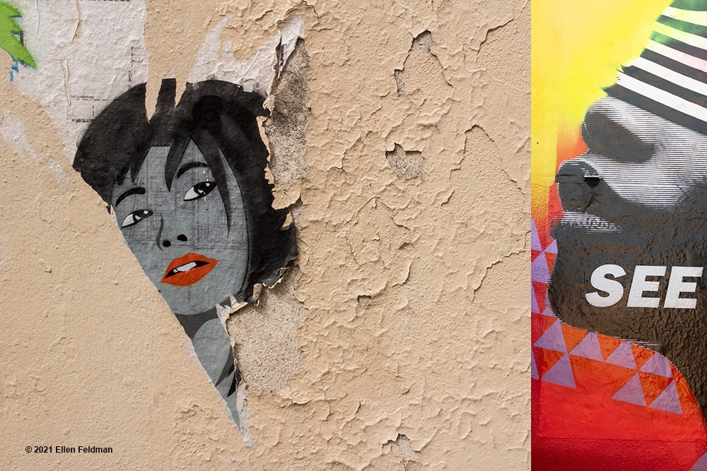 """Collage shows a woman peeking through a wall at a face—of which we see only nose and mouth. The world """"see"""" is on the face of the woman to the left."""