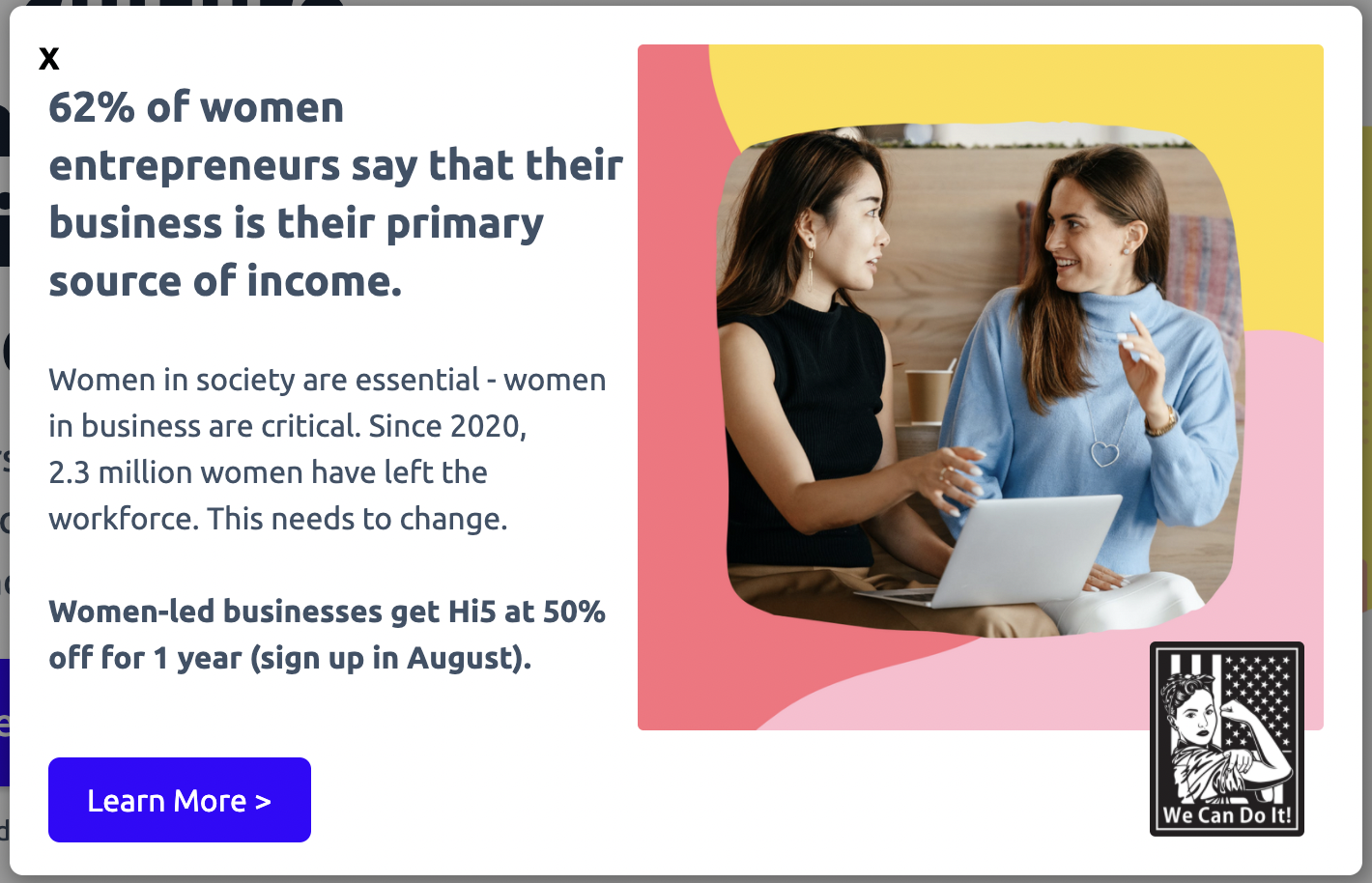 Women-Led Businesses get 50% off for 1 year | Hi5
