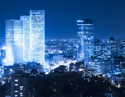 Tel Aviv skyline in night