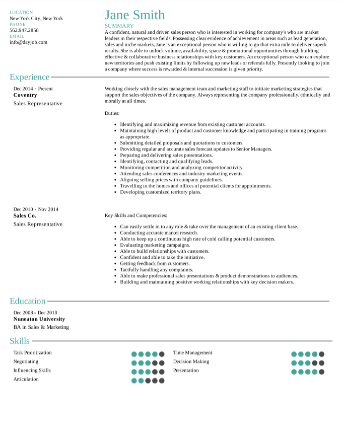 Resume Examples Intry