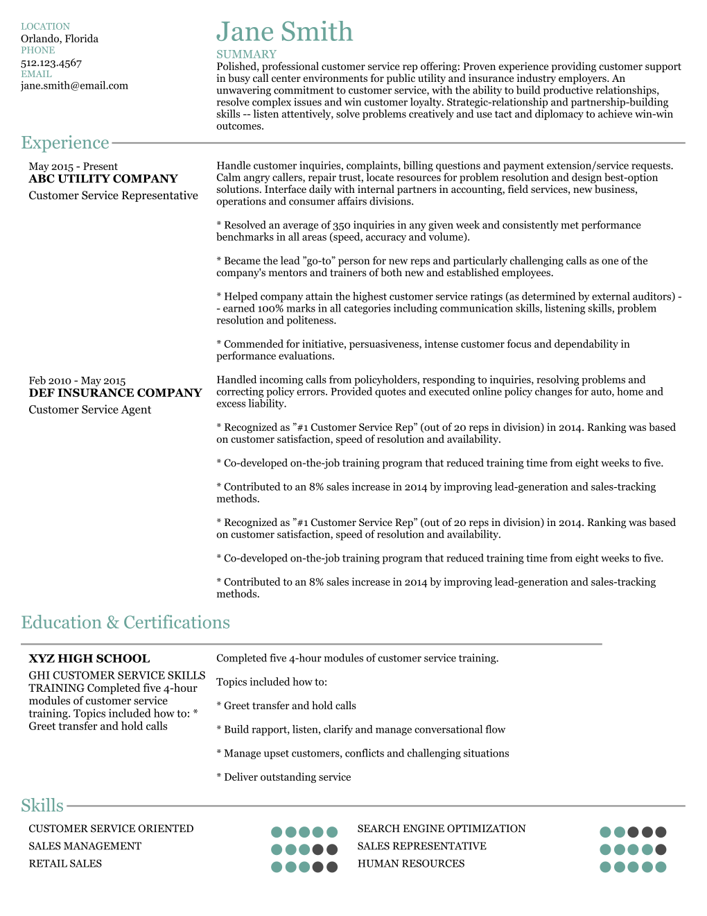 custom resume samples