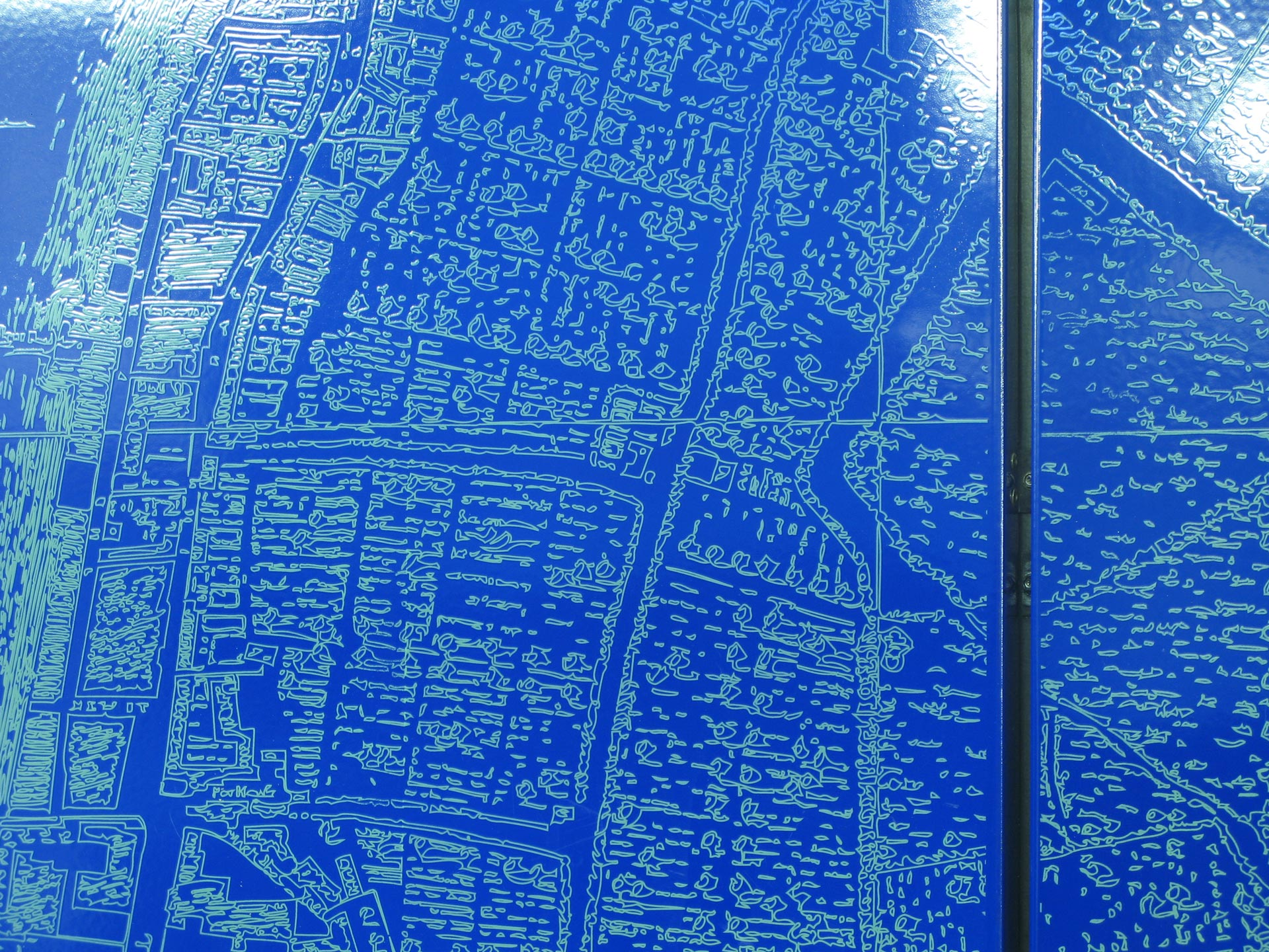 Vitreous enamel panel, map detail of artwork.