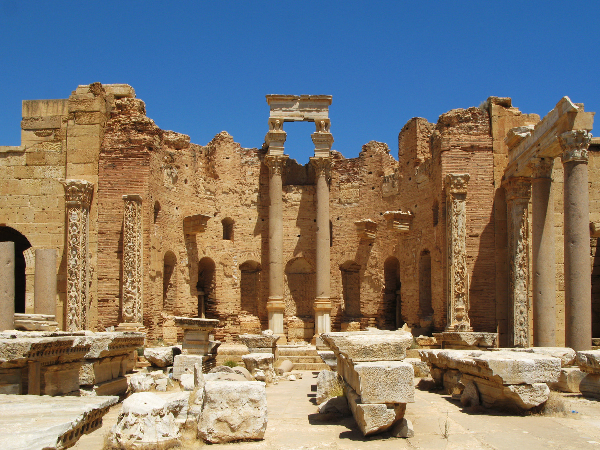 Photos of the ancient Roman City of Leptis Magnor, located about an hour east of Tripoli, Libya on the coast highway.