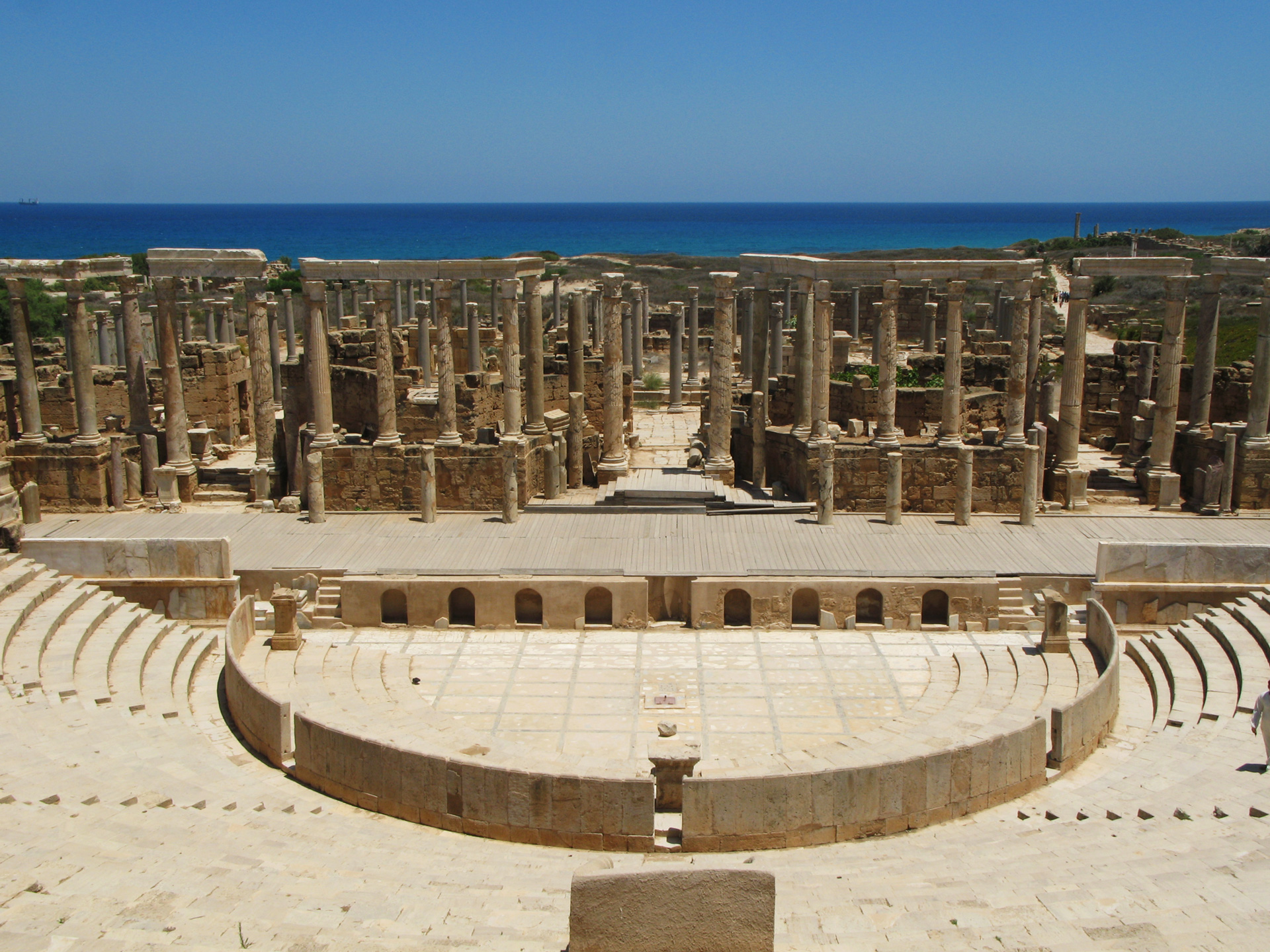 Amphitheatre, view North to the Mediterranean.