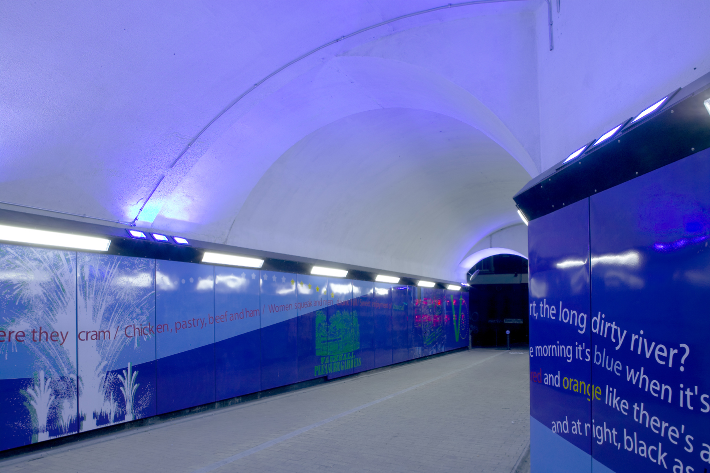 Interior view of tunnel at completion with dichroic lighting.