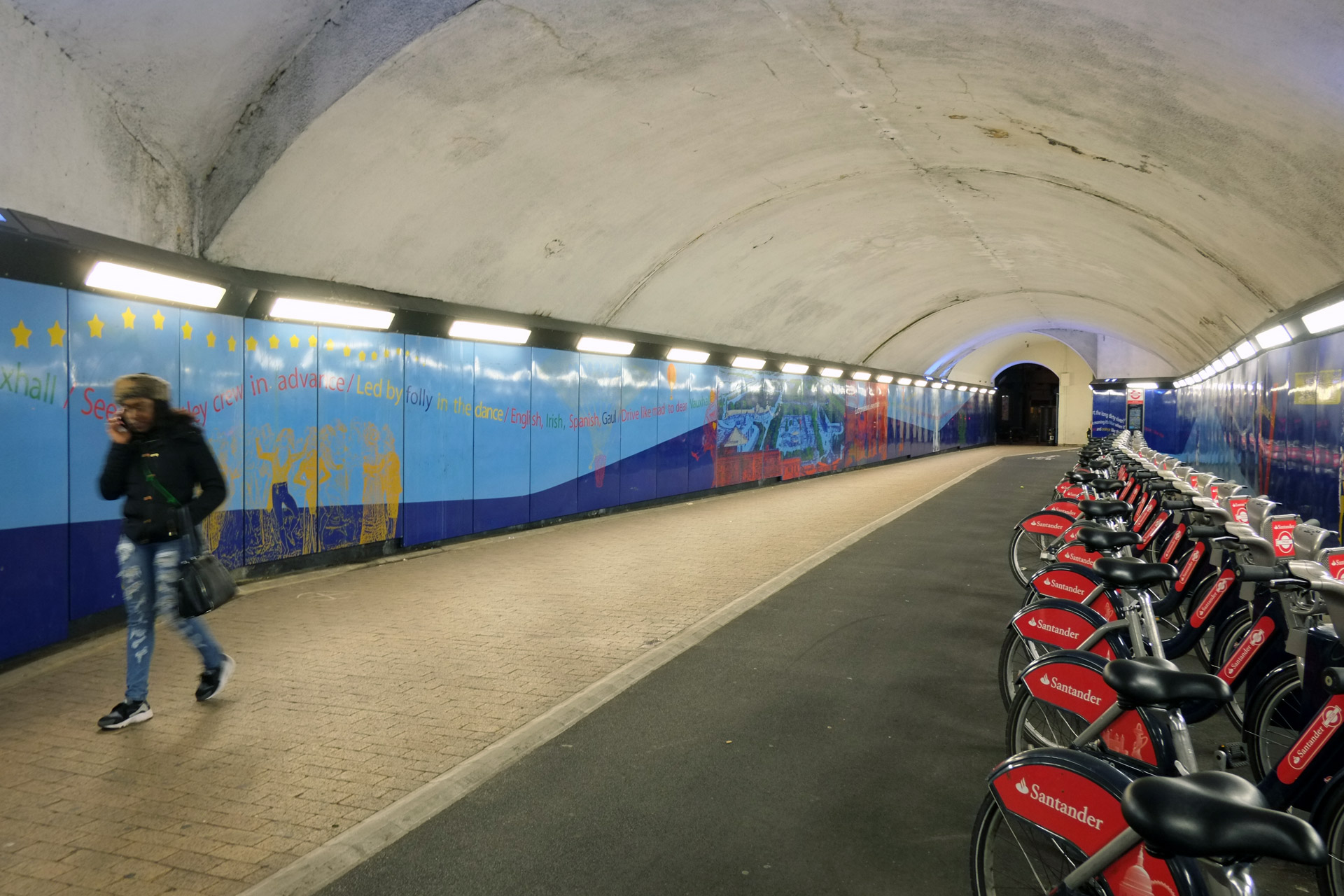 Tunnels with red bikes ten years after completion.