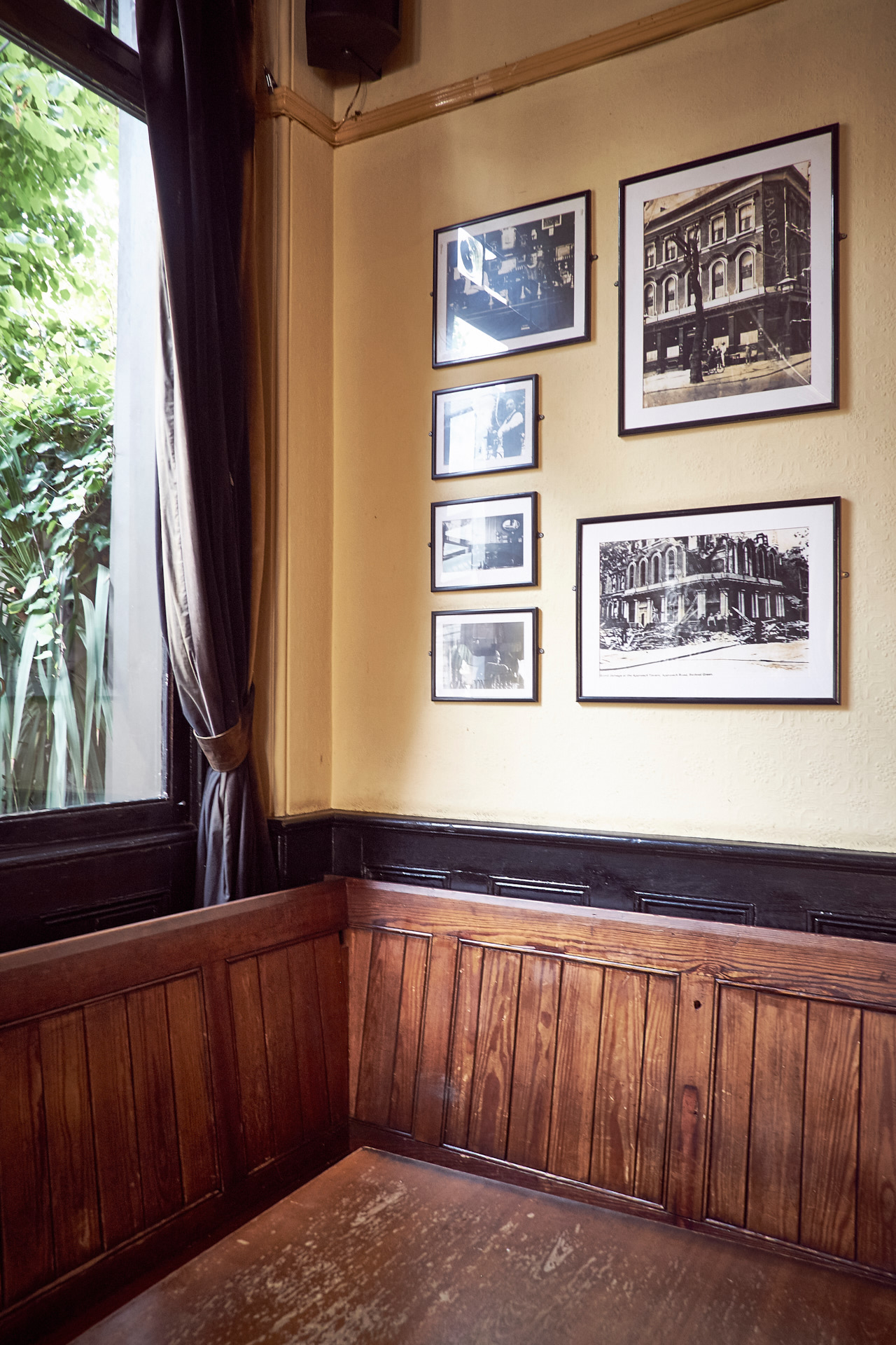 The pub has a collection of historical photos from the area.