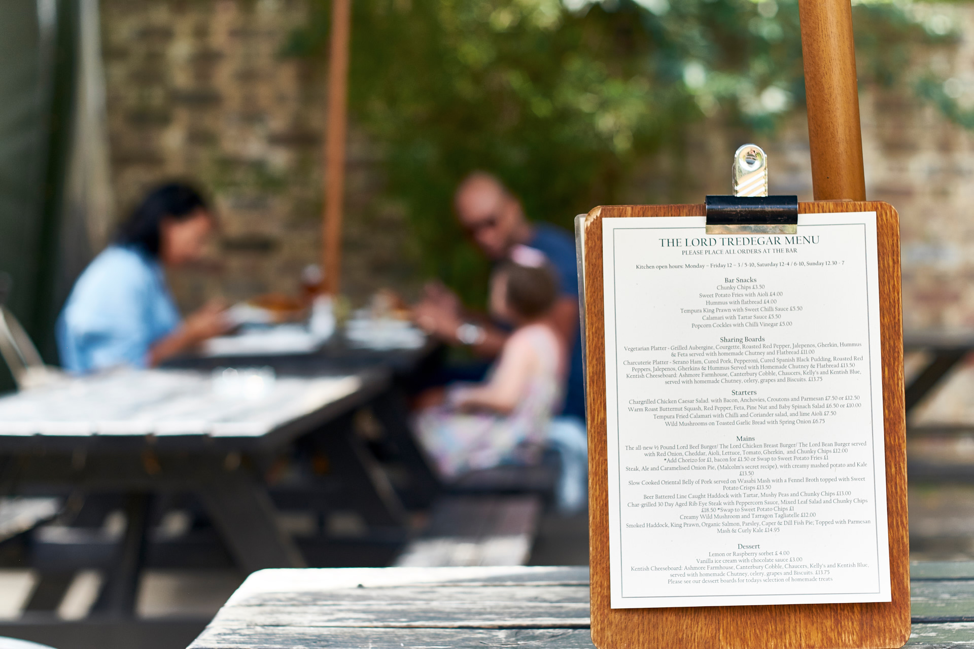 Menu in the garden.