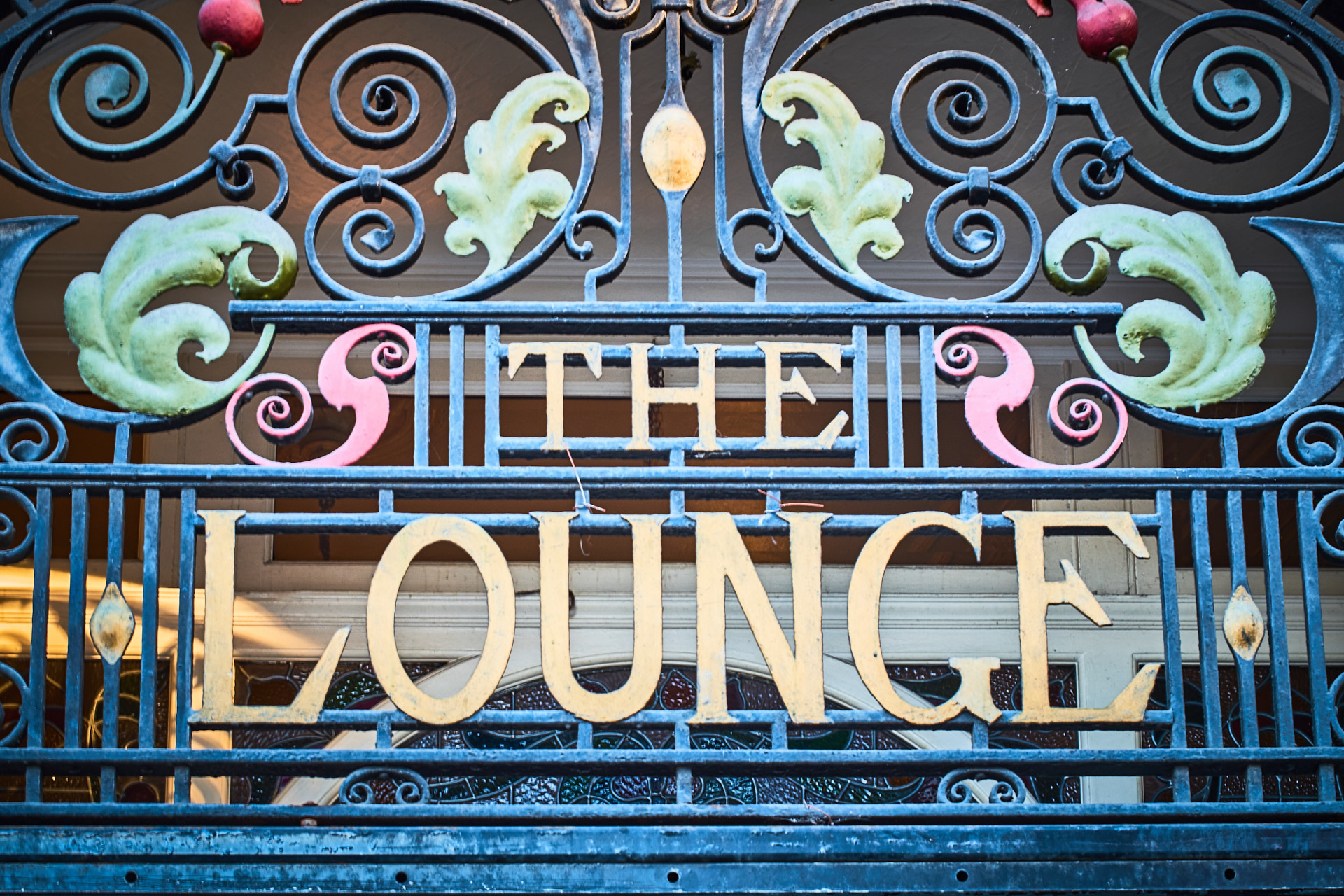 The Lounge sign.