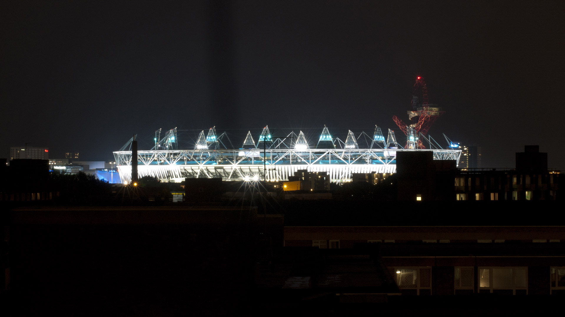 London 2012 Olympiad Stadium, opening night just before the opening ceremony, view from West.
