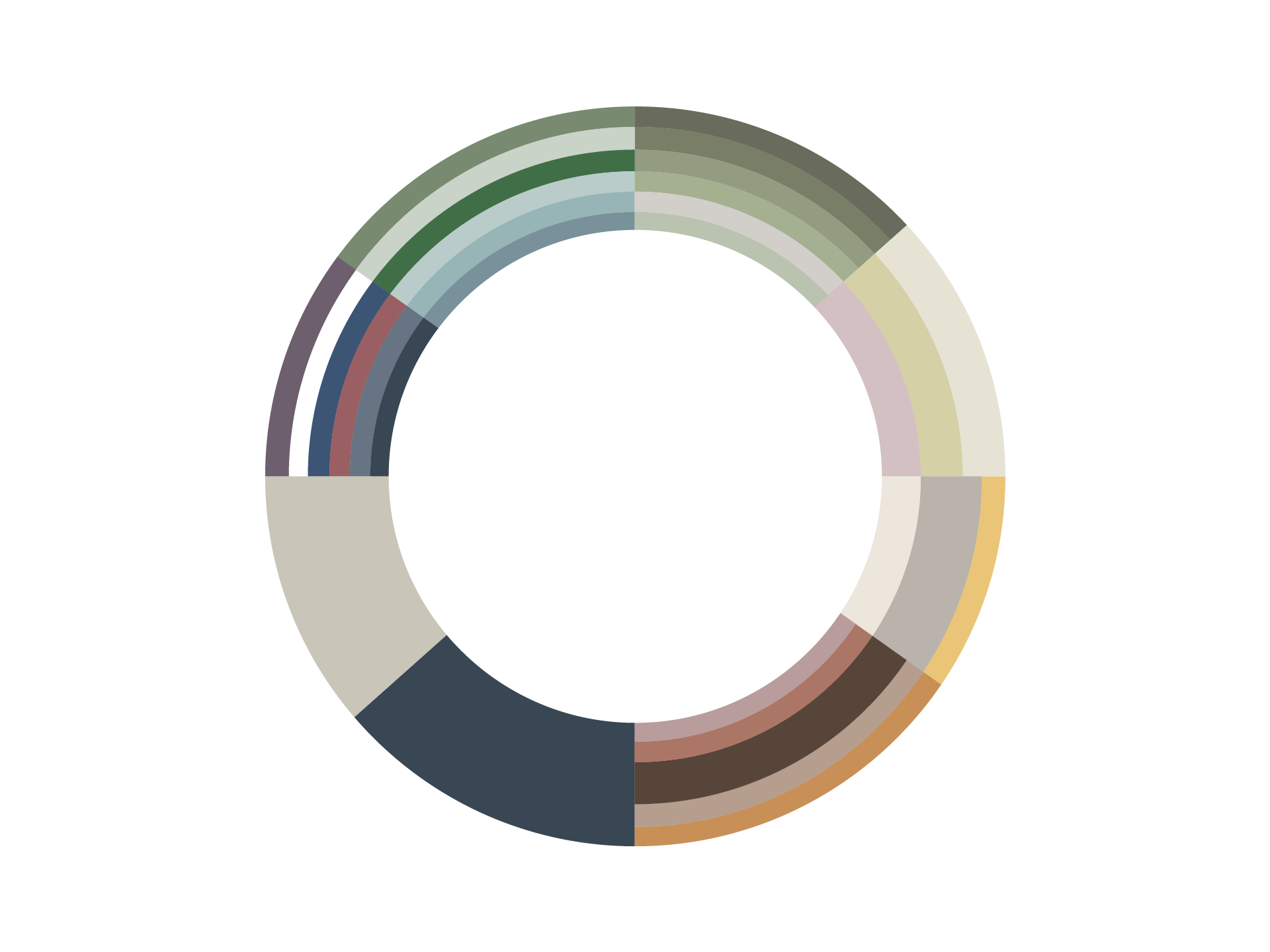 Colour scheme based on heritage paint colours as used on many of their refurbishment projects.