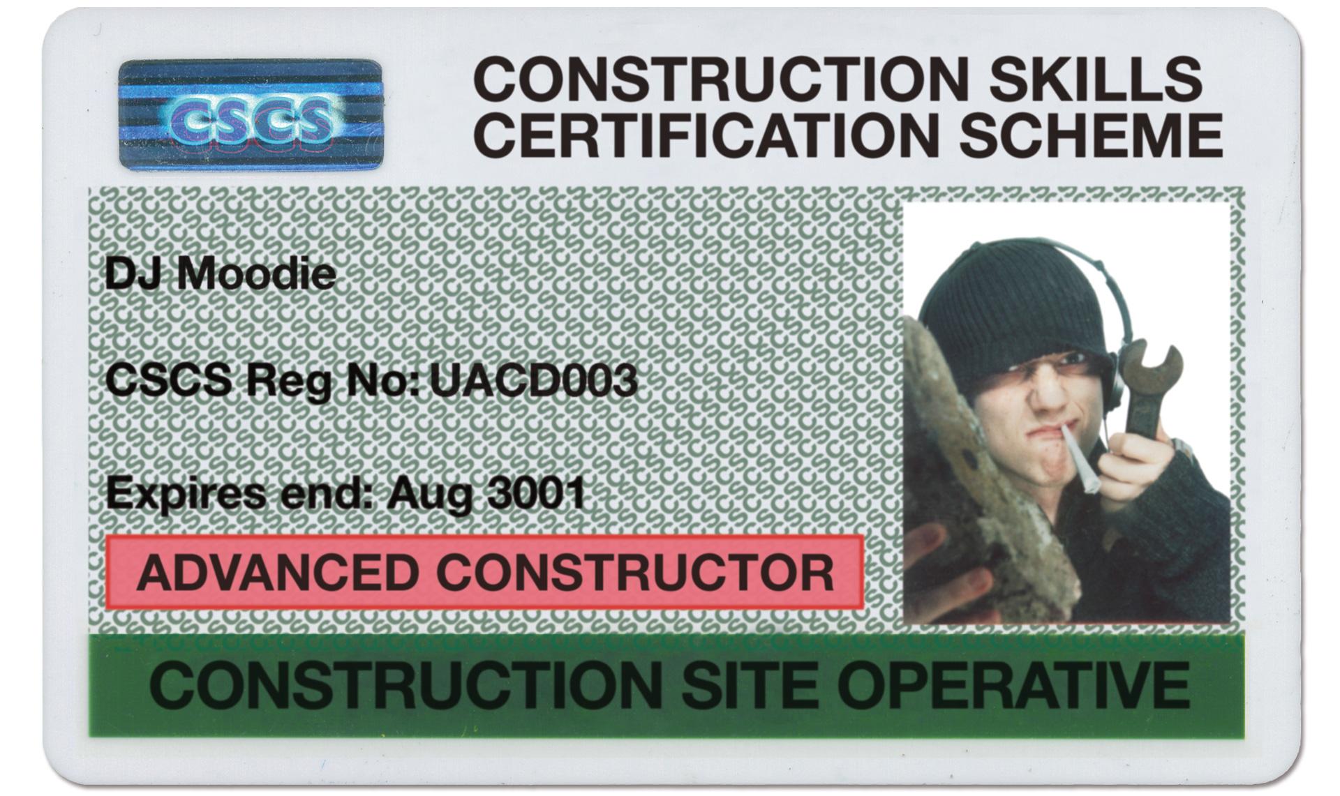 DJ Moodie CSCS card.