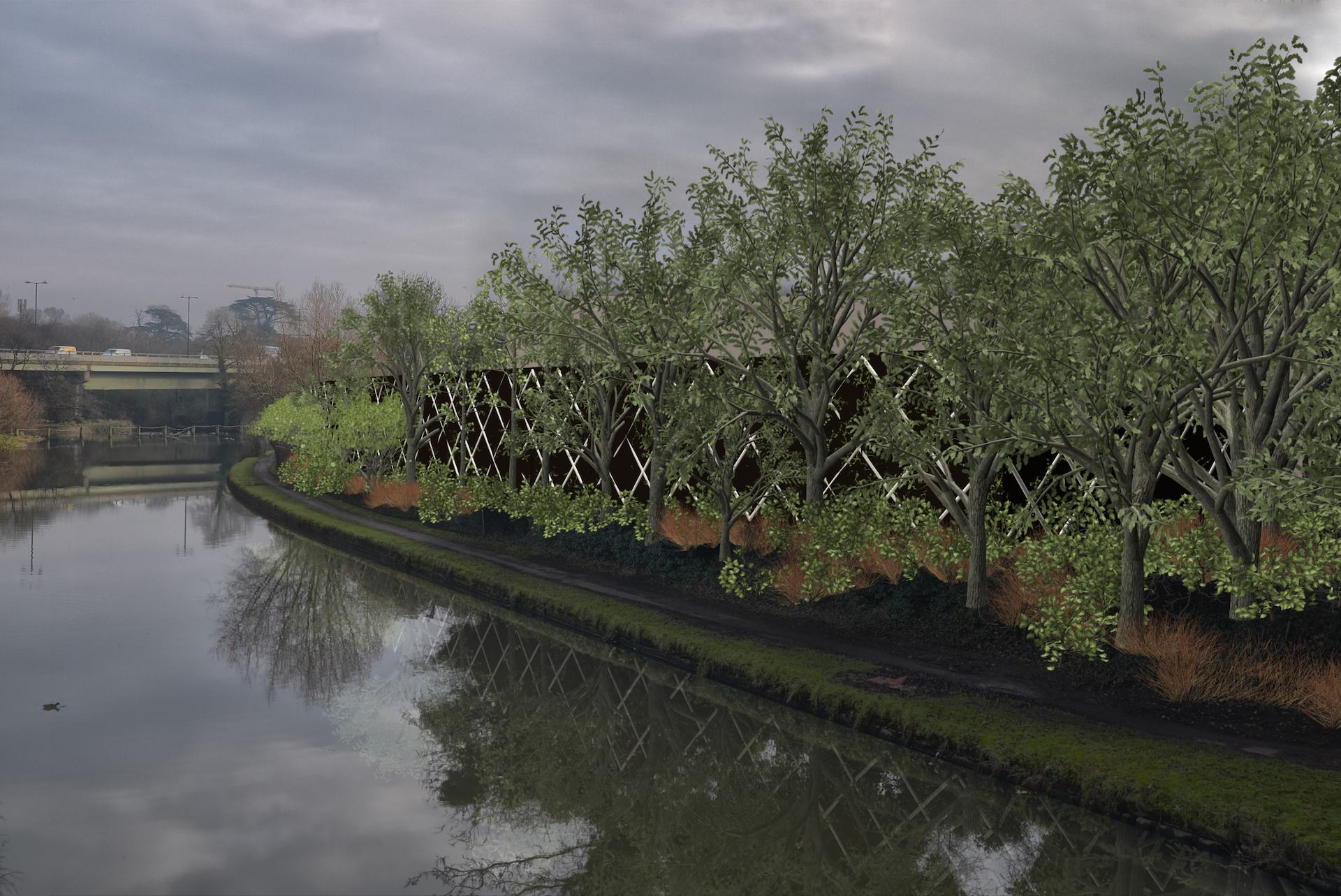 Visualisation of new fence and planting scheme alongside the canal.