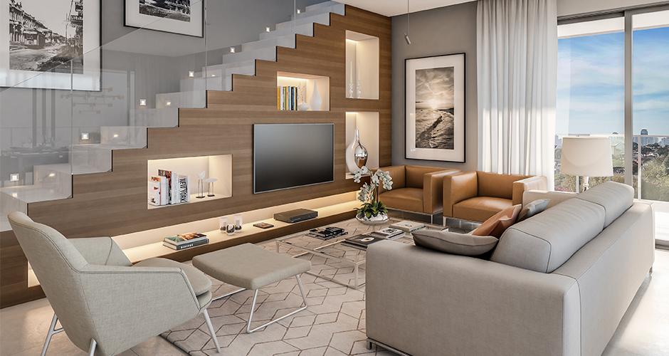 Perspectiva da sala de estar da cobertura decorada do residencial Alba, nas Mercês, em Curitiba, Paraná