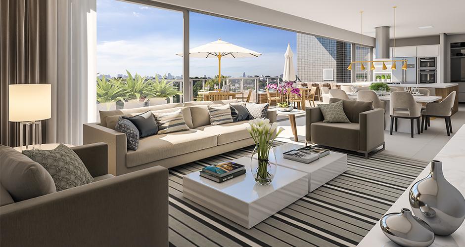 Perspectiva da sala de estar decorada do apartamento duplex do residencial Alba, nas Mercês, em Curitiba, Paraná