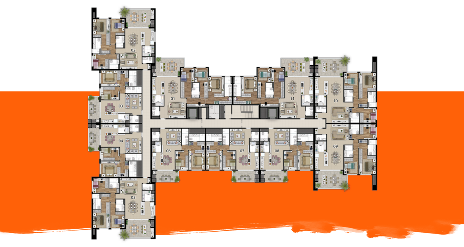 Implantação do apartamento tipo