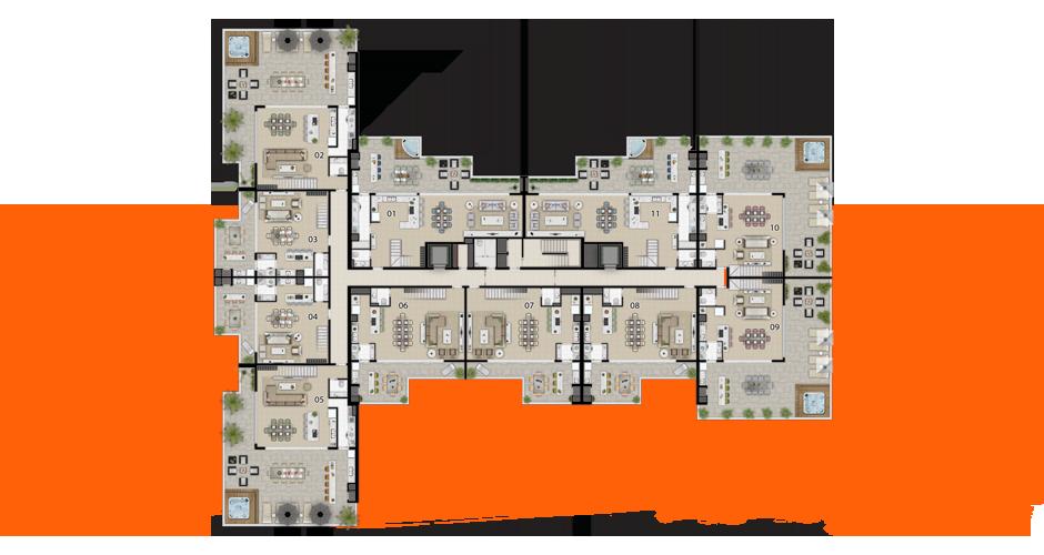 Implantação da penthouse inferior