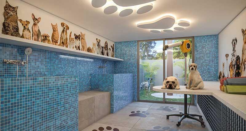 Perspectiva da área comum para cuidados diários dos pets do residencial Alba, nas Mercês, em Curitiba, Paraná