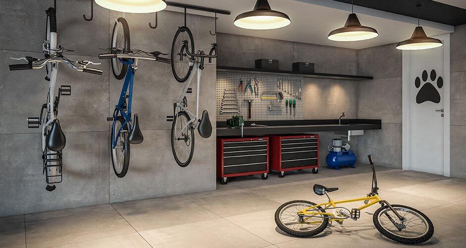 Perspectiva do bicicletário para manutenção e bikes compartilhadas do residencial Alba, nas Mercês, em Curitiba, Paraná